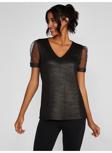Vekem-Limited Edition Şifon Kol Detaylı Parıltılı Bluz Siyah